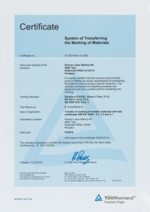 DIN EN ISO 9001-2008 System of Transferring the Marking of Materials