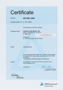 ISO 9001-2008 tanúsítvány